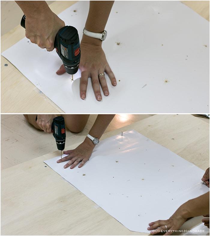 Headboard under $100 via Oheveryhinghandmade-mark and drill upholstery holes