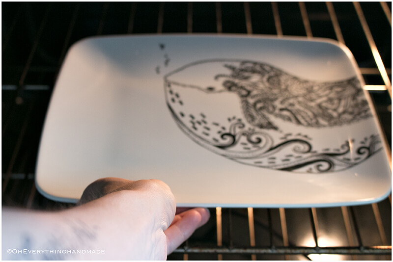 Plate coloring by OEH-bake to make permanent