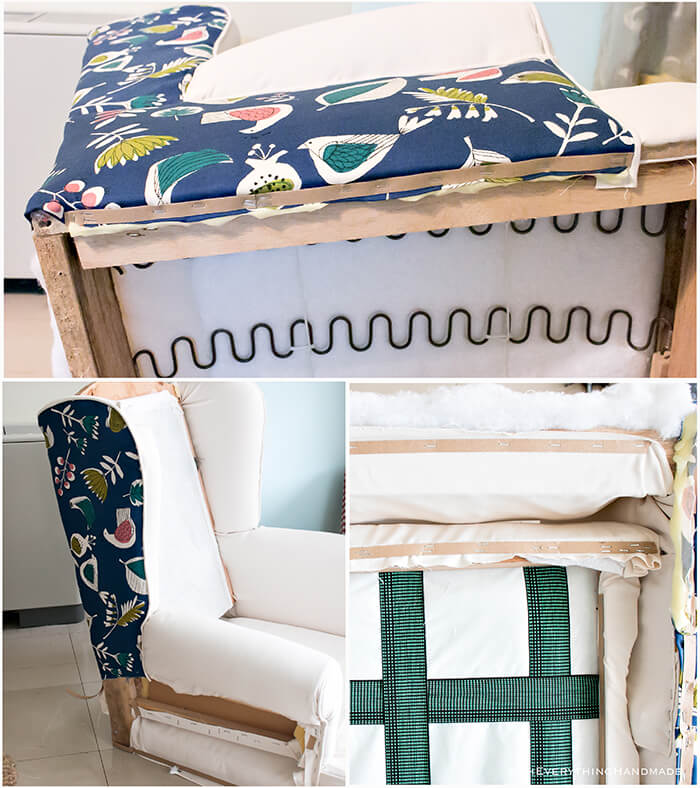 Farmhouse Style Wingback chair makeover by OhEverythingHandmade - Attaching the fabric