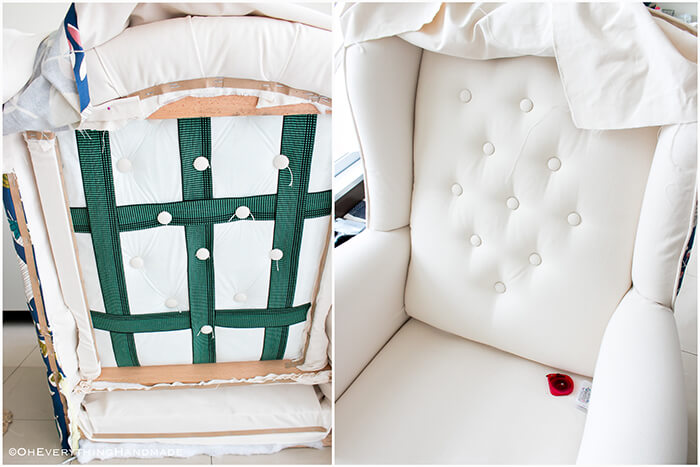 Farmhouse Style Wingback chair makeover by OhEverythingHandmade - Before and after tufting