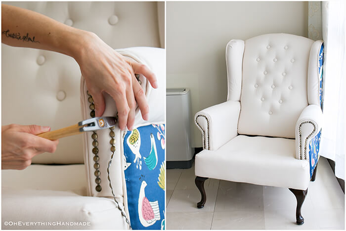 Farmhouse Style Wingback chair makeover by OhEverythingHandmade - Chair almost complete