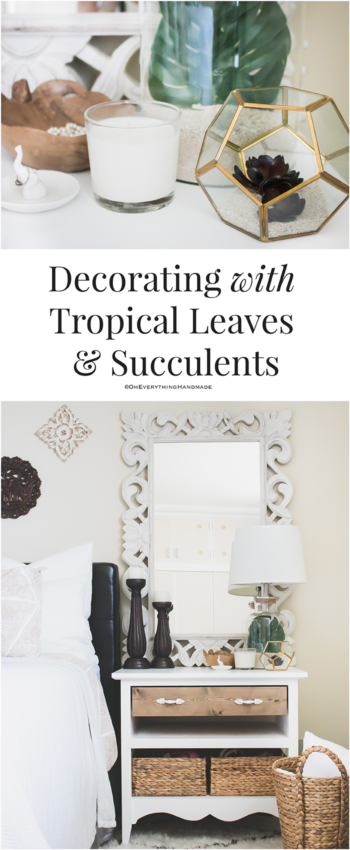 Tropical leaf and succulents decor via OEH - pinterest