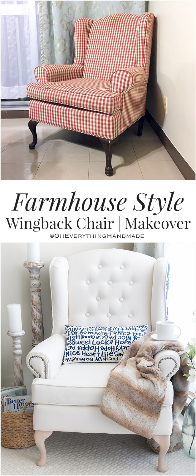 Wingback chair makeover PIN IT by OhEverythingHandmade