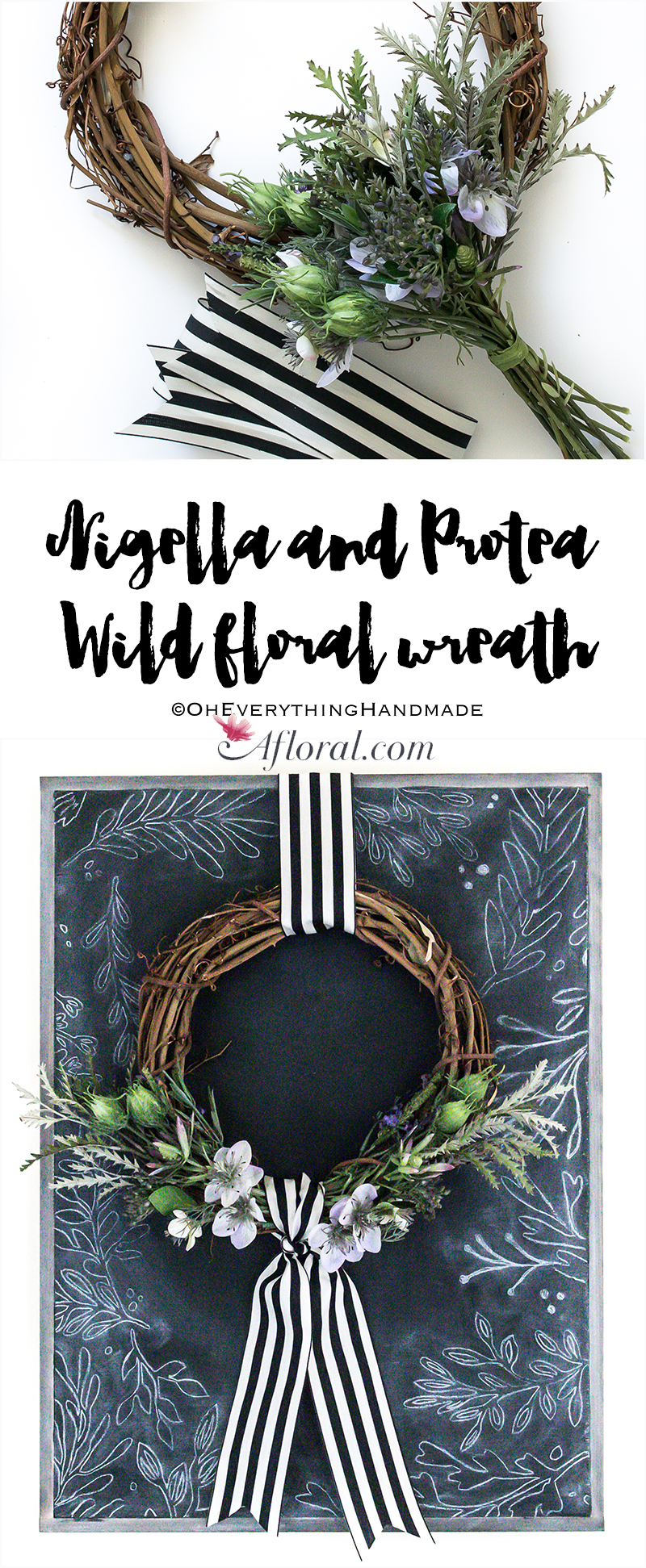 Nigella and Protea Wild floral wreath