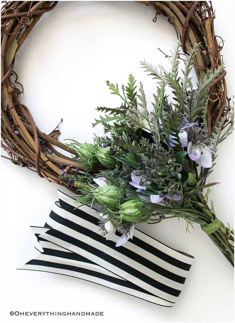 Nigella and Protea Wild floral wreath