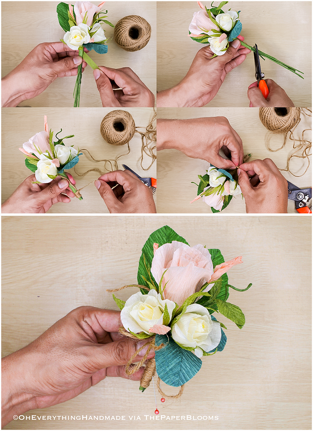 Paper Flowers How To Make Boutonnieres Oh Everything Handmade