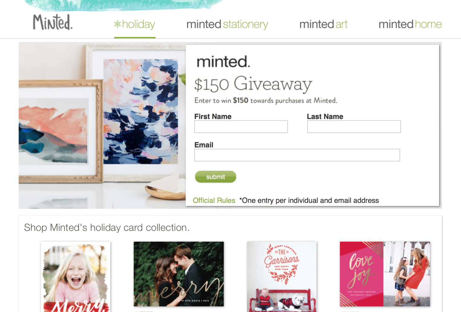 $150 Minted Giveaway