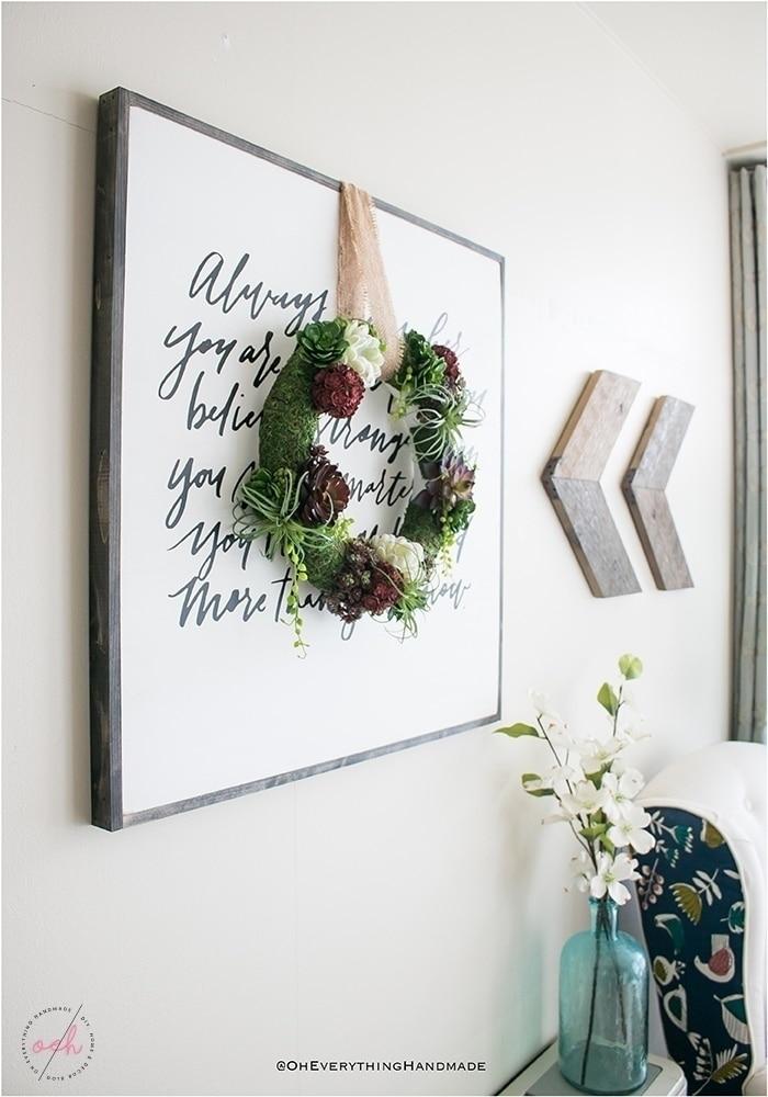 Succulent Wreath DIY - Indoor succulent wreath decor sideview